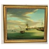 "https://www.ebay.com/itm/124121372889SM028: OIL PAINTING REPRODUCTION OF THOMAS BIRCH ""PHILADELPHIA"