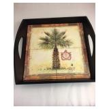 https://www.ebay.com/itm/114158192958	KB0027: Wooden Tray with Handles and Palm Tree in Center