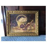 LAN771: Ann Garmson Still Life Fruit and Basket Oil on Canvas Framed Local Pi $10	Pay online by Venm