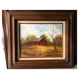 LAN773 Red Farmhouse Oil on Board Framed Local Pickup $10	Pay online by Venmo: @Rafael-Monzon-1, Pay