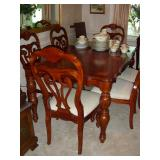 Dining table, 6 chairs, leaf