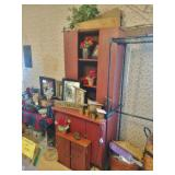 Nice Antique Stepback Cupboard In Red Paint