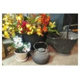 Cast Iron Kettle With New Floral Decor Stems