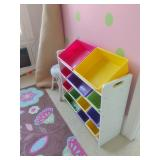 Storage Shelf With Colorful Bins Perfect For Dolls & Accessories
