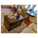 Antique Trunk W/Beveled Glass Top