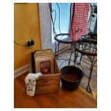 Cast Iron Kettle & Wooden Crate