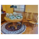 Heavy Oak Pedestal Table W/Extra Leaves & Dining Chairs