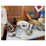 Vintage Pottery Bowls & Utensils