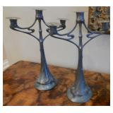 37.Pair of Vienna Secession pewter candelabra-$2,200