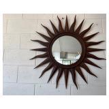 Wall Mirror In Iron Sun Style Frame.
