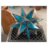 Hanging Blue Glass Moravian Star Lamp.