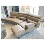 Natuzzi Taupe Leather Modular Sofa With Back Pillows.