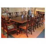 Quality Mahogany Banded Dining Table with 10 Chippendale Chairs