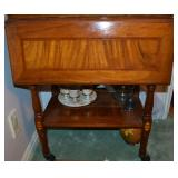 Vintage Oak Bar Cart with Inlay
