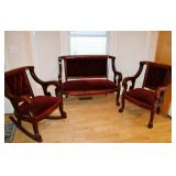 Antique Mahogany Clawfoot Parlor Set. Settee with, Matching Rocker & Chair