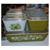 Vintage Pyrex Compatibles Crazy Daisy/Green White Refrigerator dishes