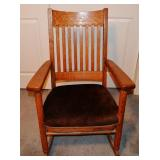 Quartersawn Oak Slat Back Rocking Chair