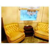 Vintage Yellow Tufted Accent Chairs