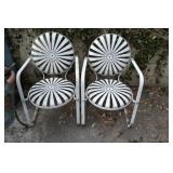 Pair of Carre Sunburst Pin Wheel Iron Garden Chairs
