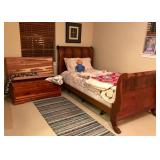 Antique 1800s Sleigh Bed, Cedar Chest, Antique Quilts, Tempurpedic Adjustable Twin Bed