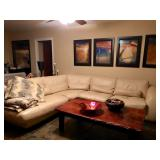 Creme Leather Sectional Sofa, Reclaimed wood Coffee Table