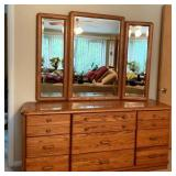 Lot 084  Oak Dresser with Mirror