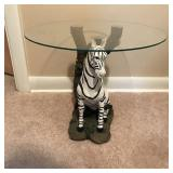 Lot 152  Zebra Glass Topped Side Table