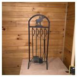 Lot 186  Wrought Iron Moose Fireplace Tool Set