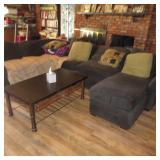 Thomasville Plush Sofa Sectional with Chaise Lounge & Accent Tables