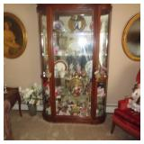 Stunning Large Lighted Display Curio Cabinet