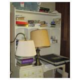 Lamops, books, shelving
