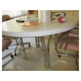 CHROME ROUND MID-CENTURY TABLE AND CHAIRS