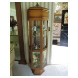 LIGHTED CURIO WITH EQUESTRIAN HAND PAINTED DESIGN