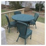 NEW OUTDOOR GREEN WICKER OUTDOOR SET COMPLETE FOR ENTERTAINING
