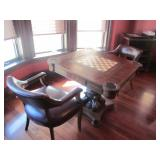 GAME TABLE WITH PAIR OF LEATHER ARM CHAIR SEATING