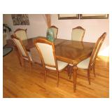 THOMASVILLE DINING SUITE WITH SEATING LEAVES & PAD