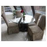 Palm Tree Glass Top Table With Fabric Seating