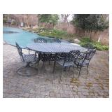 Iron Patio Suite with 6 Chairs 2 Swivel