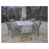Outdoor Stone Top Patio Suites With Double Lounge & More Lounge Chair