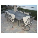 Outdoor Stone Top Patio Suites With Double Lounge & More Lounge Chairs