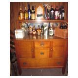Oak Beveled Mirrored Buffet Sideboard