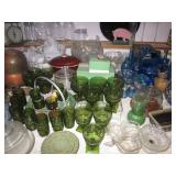 Tons of Colored Depression Glass