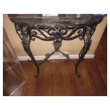 Marble Top Iron Half moon Accent Table