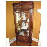 Ornate Carved Lighted Curio Cabinets & Large Lladro Collection With Boxes