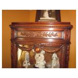 Ornate Carved Lighted Curio Cabinets