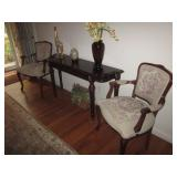 Victorian Tapestry Fireside Lounge Arm Chairs & Mahogany Sofa Table
