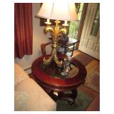 Matching Beveled Glass End Tables With Brass Lighting