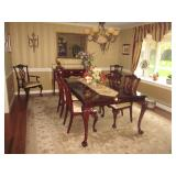Century Claridge Stunning Dining Room Table and Seating Kindel Furniture Winterthur Collection Inlai