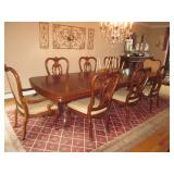 "Thomasville Dining Room Suite ""Kent Park Collection"" Stunning Thomasville Lighted Glass Mahogany Chi"