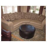 Gorgeous Custom Sofa Sectional & Leather Large Ottoman